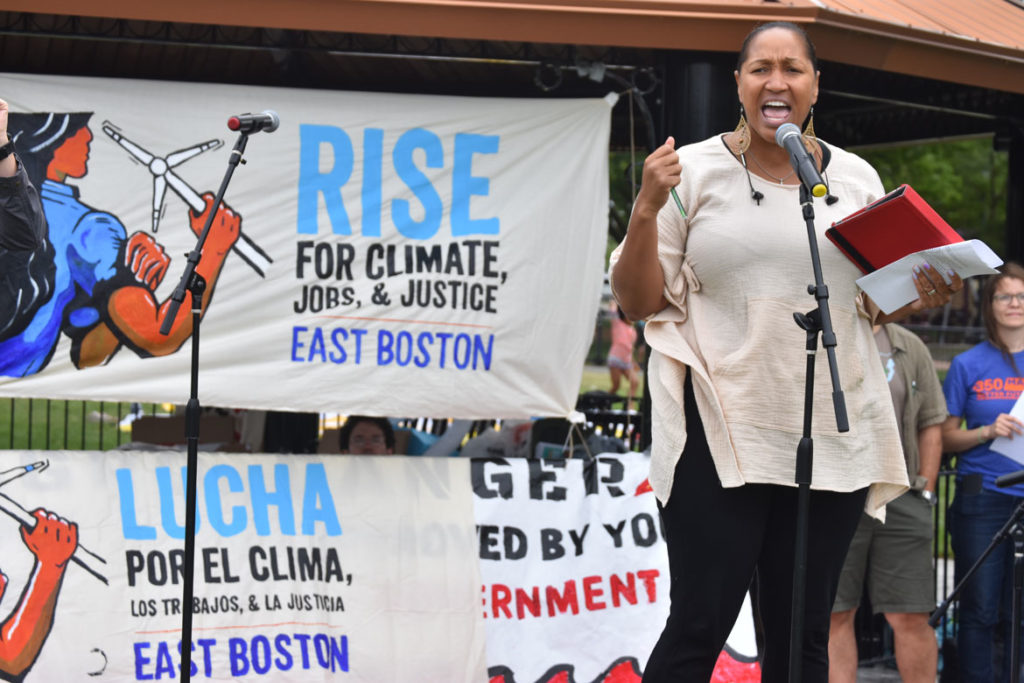 Mariama White-Hammond speaks at the Boston Rise for Climate, Jobs, Immigrant Rights & Justice rally at East Boston Memorial Park, Sept. 8, 2018. (Greg Cook)