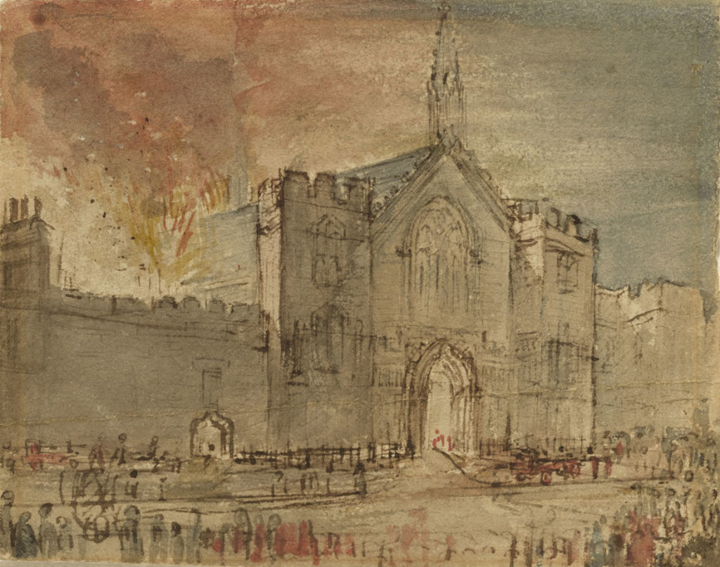 "John Constable, ""The Houses of Parliament on Fire,"" 1834, pen and ink with watercolor on cream wove paper. (Courtesy Clark Art Institute)"