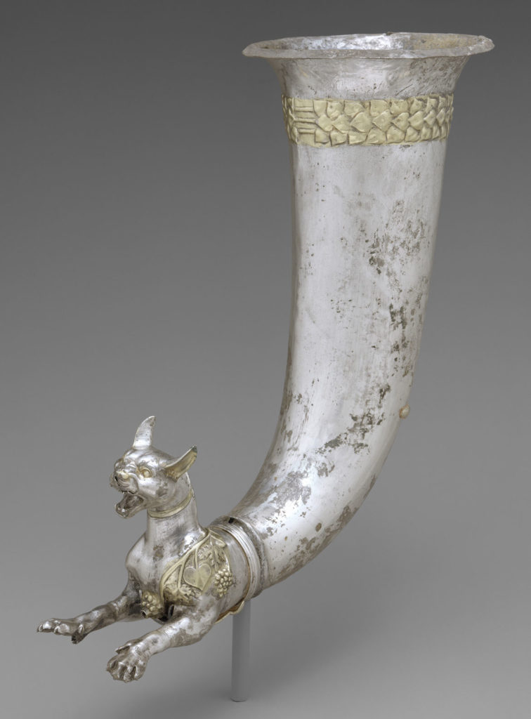 Rhyton with the forepart of a wild cat, Parthian, 1st century BCE, silver, partially gilded. (MetropolitanMuseum of Art, New York)