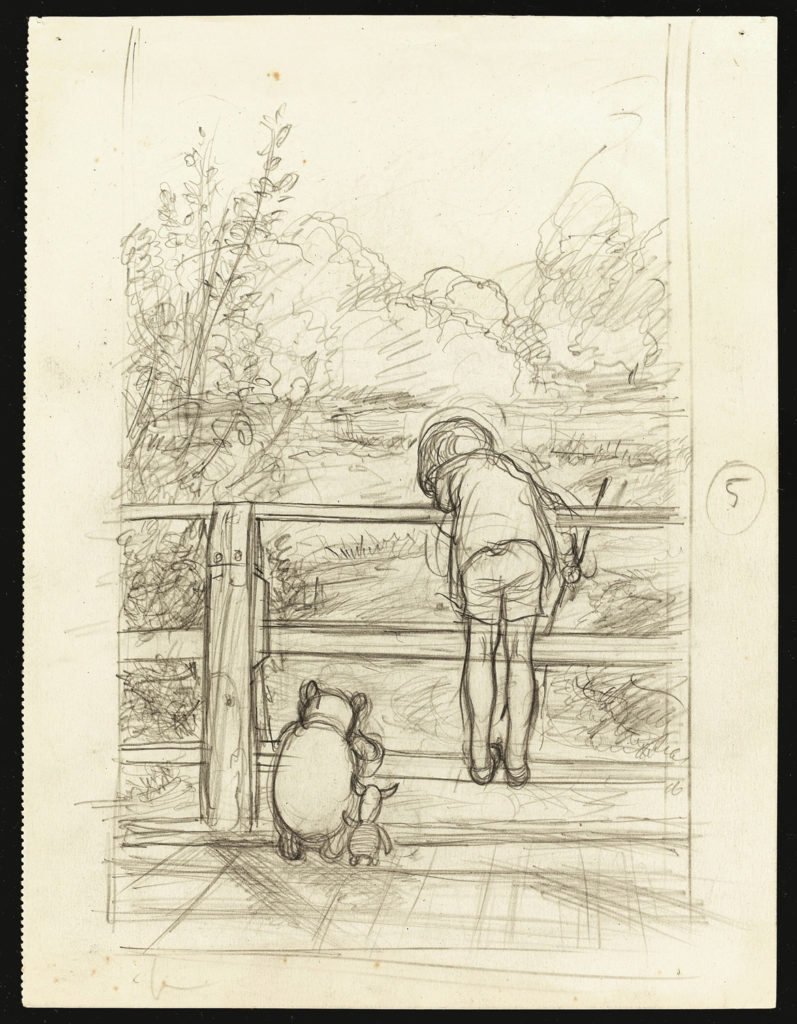 "Ernest Howard Shepard, ""For a long time they looked at the river beneath them,"" House at Pooh Corner, 1928, pencil on paper. (Courtesy of Museum of Fine Arts, Boston)"