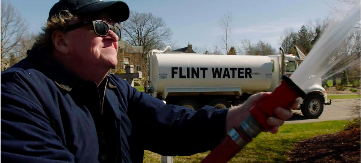 "In ""Fahrenheit 11/9,"" Michael Moore pays a visit to the home of Michigan Gov. Rick Snyder. (Courtesy)"