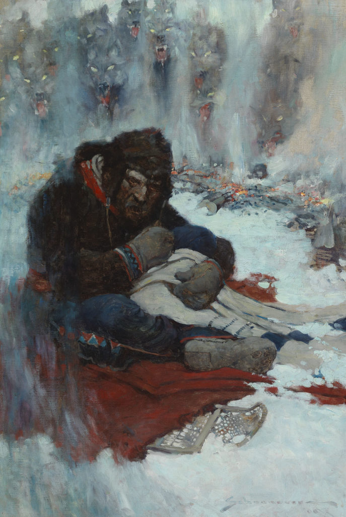 "Frank E. Schoonover, ""Circle of Fire (They Can Come in and Get Me Now),"" 1906, oil on canvas, illustration for ""White Fang"" by Jack London. (Courtesy Norman Rockwell Museum)"