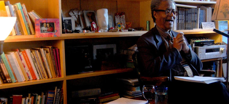 Sam Cornish reads at the Gloucester Writers Center in Gloucester, Massachusetts, June 29, 2016. (Greg Cook)