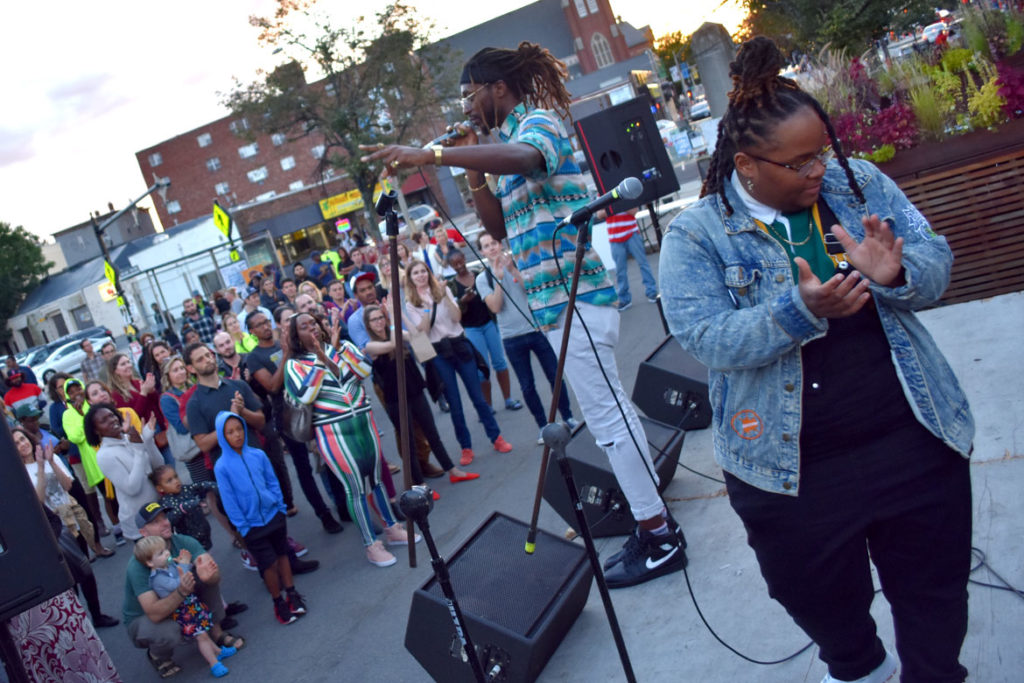 Cliff Notez finishes his set with Oompa at Somerville's Evolution of Hip Hop Festival in Union Square, Sept. 29, 2018. (Greg Cook)