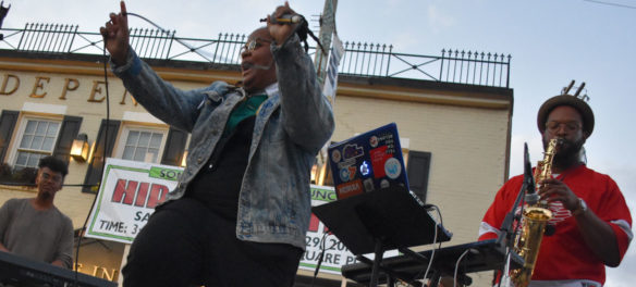 Oompa performs at Somerville's Evolution of Hip Hop Festival in Union Square, Sept. 29, 2018. (Greg Cook)