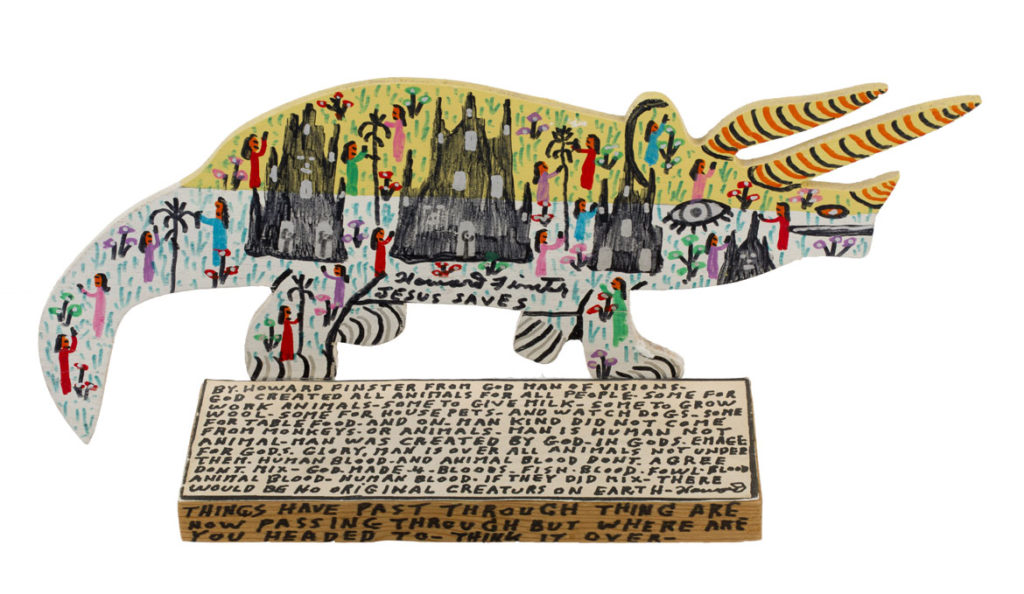 "Howard Finster ""Rhino,"" 1990. (Courtesy Tufts University Art Gallery"