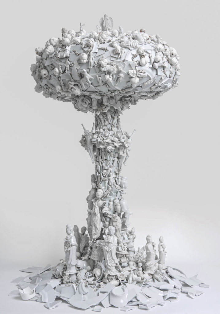 "Bouke de Vries, ""War and Pieces,"" 2012. 18th-, 19th-, and 20th-century porcelain, plastic, sprayed plaster, acrylic, steel, aluminum, gilded brass. (Courtesy the artist and Ferrin Contemporary)"