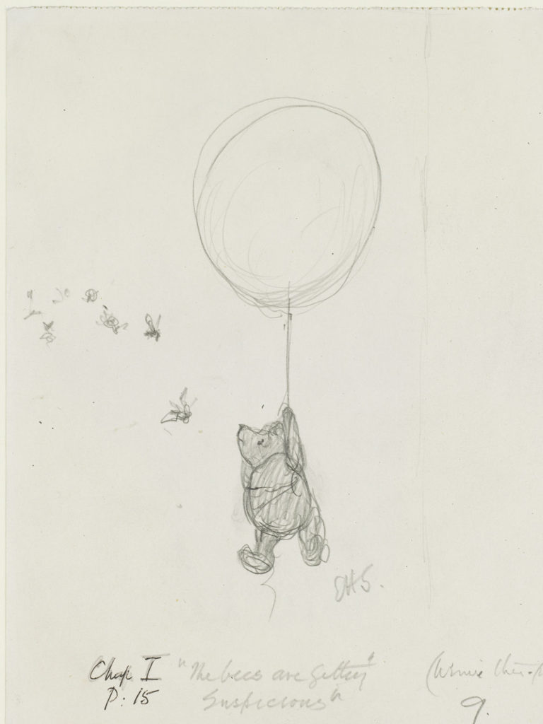 "Ernest Howard Shepard, ""The bees are getting suspicious,"" Winnie-the-Pooh chapter 1, 1926, pencil on paper. (Courtesy Museum of Fine Arts, Boston)"
