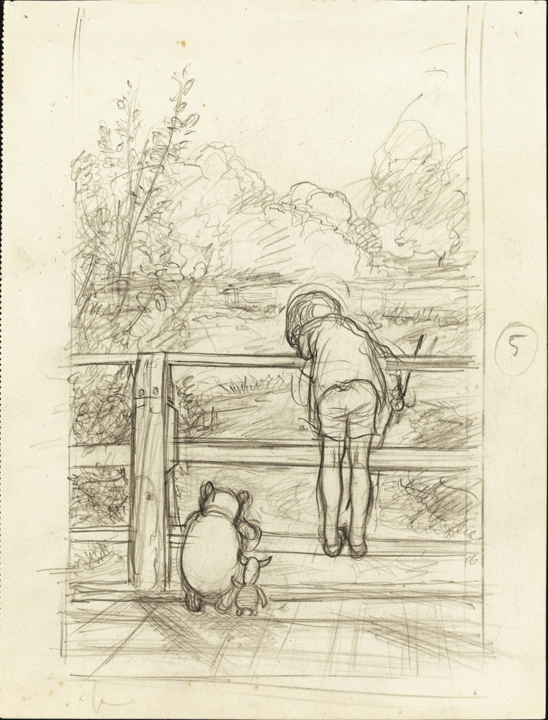 "Ernest Howard Shepard, ""For a long time they looked at the river beneath them,"" House at Pooh Corner chapter 6, 1928, pencil on paper. (Courtesy Museum of Fine Arts, Boston)"