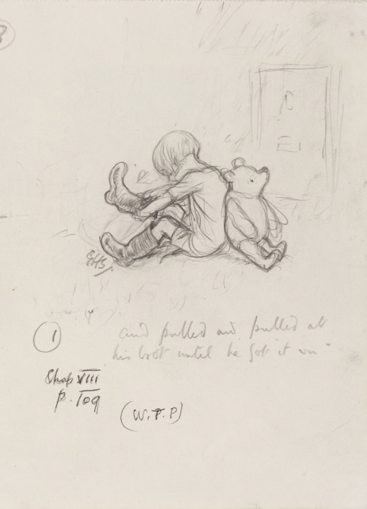 "Ernest Howard Shepard, ""And pulled and pulled at his boot..."" Winnie-the-Pooh chapter 8, 1926, pencil on paper. (Courtesy Museum of Fine Arts, Boston)"
