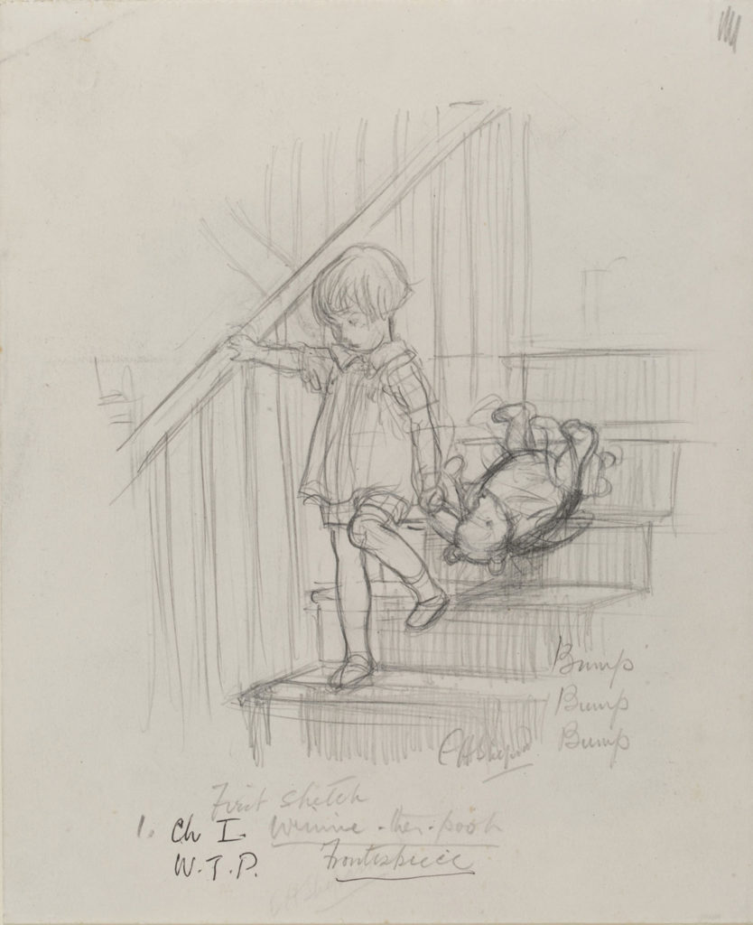 "Ernest Howard Shepard, ""Bump, bump, bump,"" Winnie-the-Pooh chapter 1, 1926, pencil on paper. (Courtesy Museum of Fine Arts, Boston)"