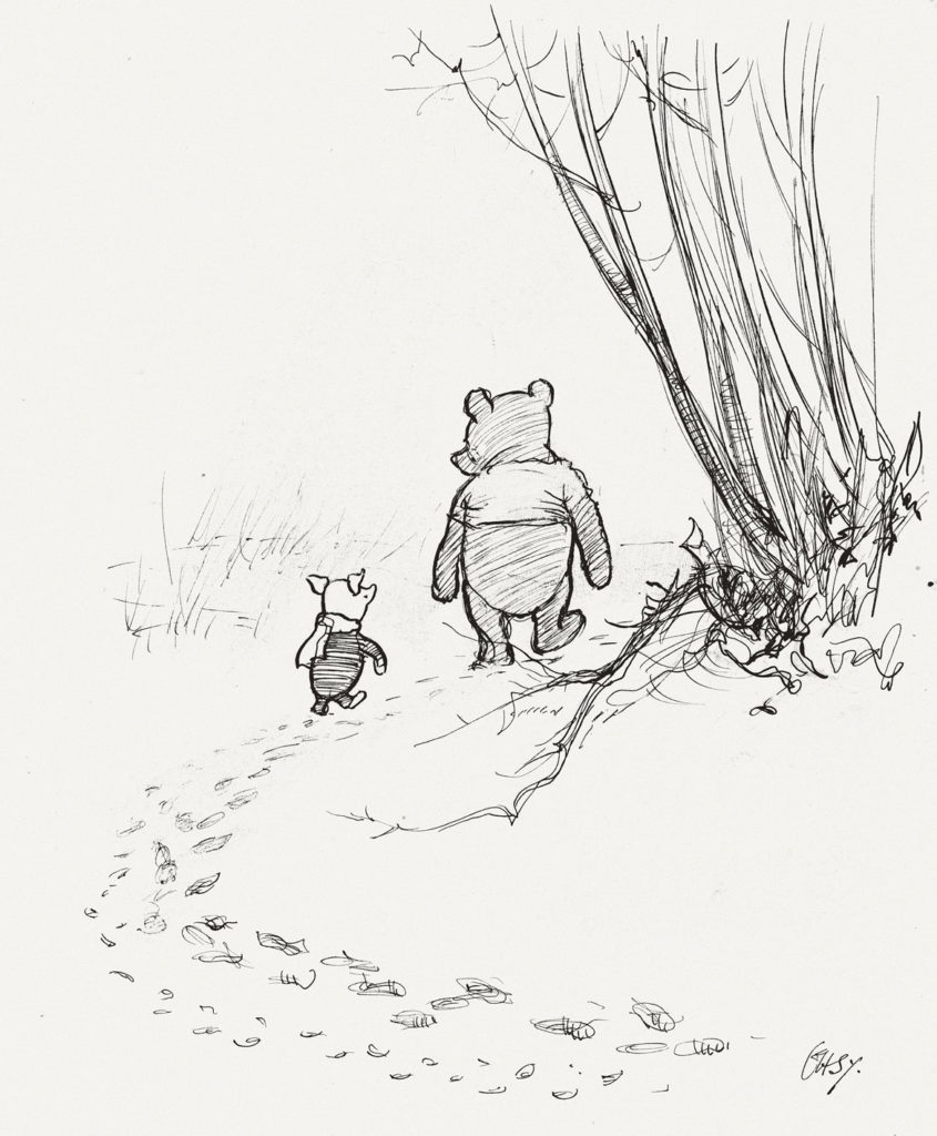 "Ernest Howard Shepard, ""Pooh and Piglet go hunting,"" Winnie-the-Pooh chapter 3, 1926 pen and ink. (Courtesy Museum of Fine Arts, Boston)"