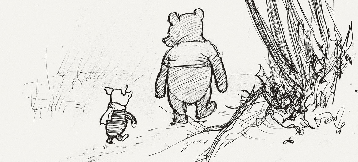 """Ernest Howard Shepard, """"Pooh and Piglet go hunting,"""" Winnie-the-Pooh chapter 3, 1926 pen and ink. (Courtesy Museum of Fine Arts, Boston)"""