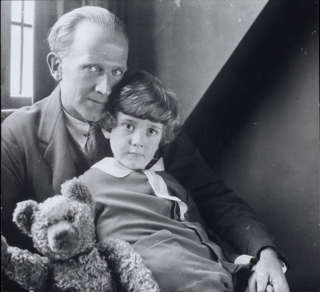Howard Coster photo of A. A. Milne, Christopher Robin Milne and Pooh Bear, 1926. (Courtesy Museum of Fine Arts, Boston)