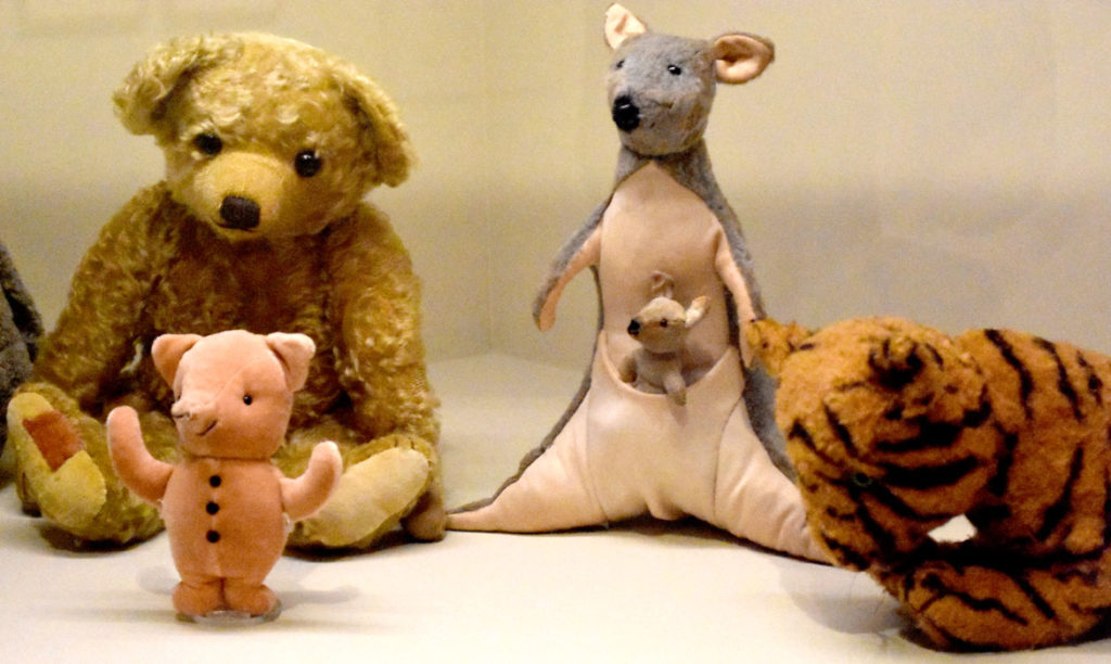 "Reproductions of Christopher Robin Milne's stuffed animals from the 2017 film ""Goodbye Christopher Robin."" (Greg Cook)"