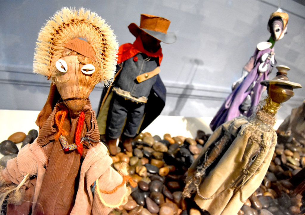 "Ashley Bryan, ""Ewunike""(""Fragrant,"" East Africa) puppet, found objects and mixed media, 2005. (Greg Cook)"