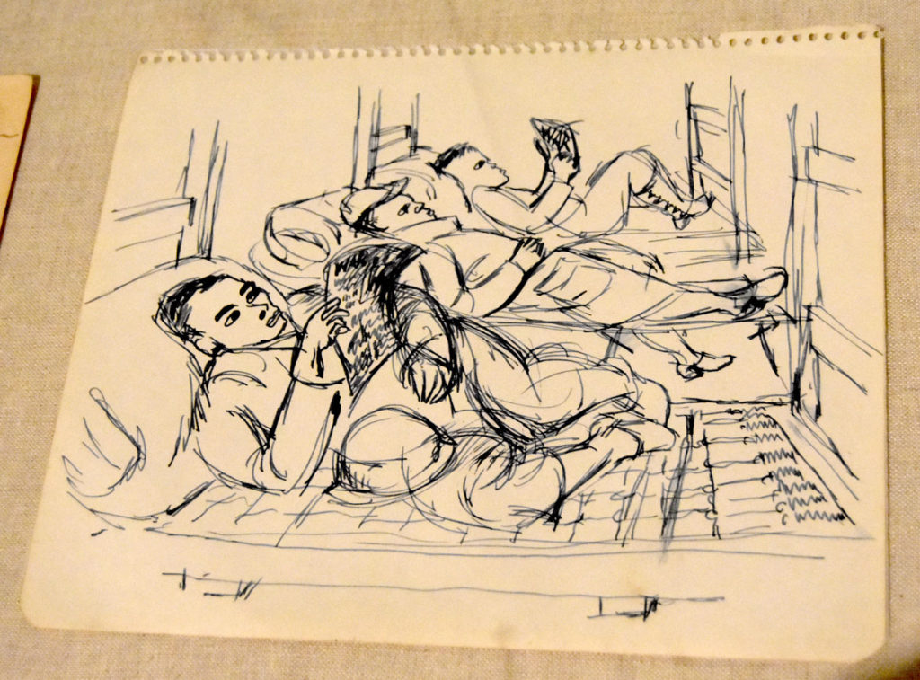 "Ashley Bryan, WWII sketch: ""No mattress, reading magazines, or papers,"" pen and ink on paper, 1944."