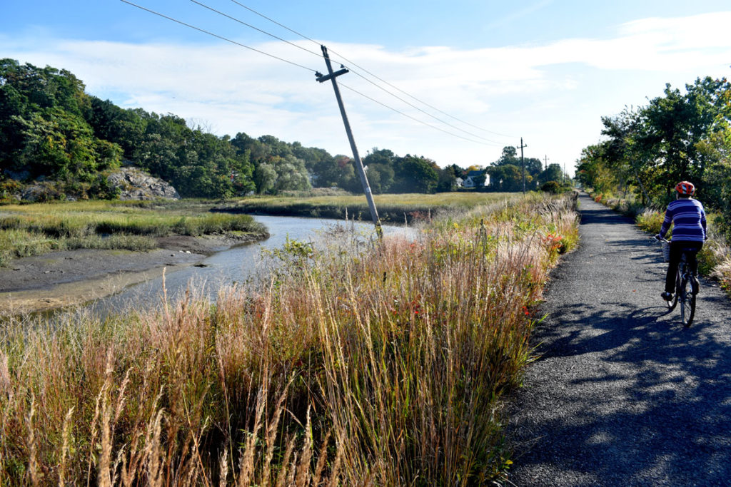 Northern Strand Bike Trail in Saugus, Massachusetts. Oct. 10, 2018. (Greg Cook)