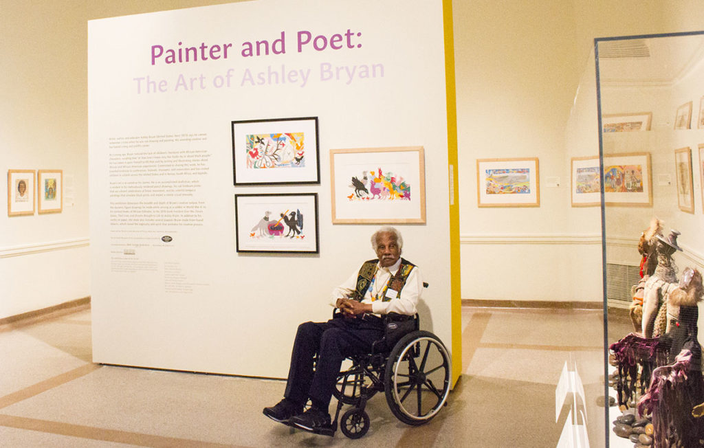 "Ashley Bryan at ""Painter and Poet: the Art of Ashley Bryan"" exhibition at the Portland Museum of Art, Maine. (Courtesy)"