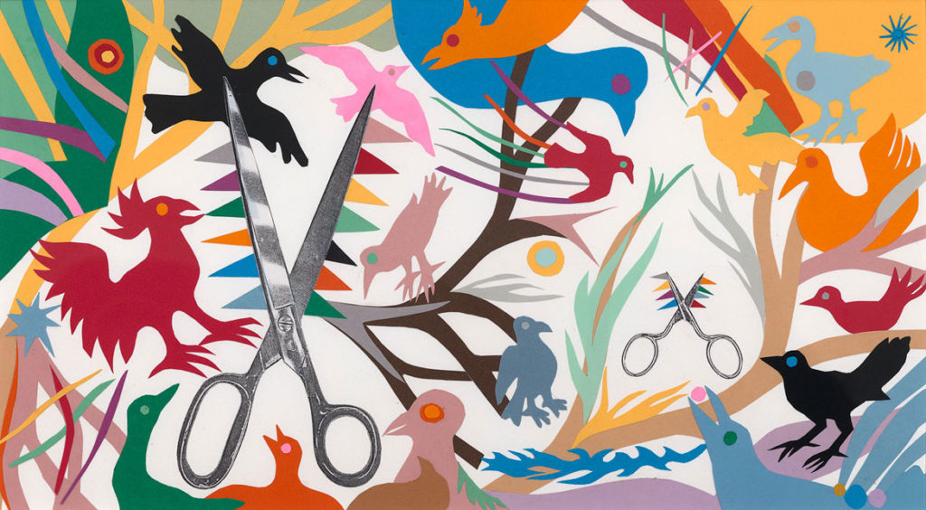 "Ashley Bryan, endpapers for ""Beautiful Blackbird,"" collage of cut colored paper with mixed media on paper, ca. 2002. (Courtesy)"