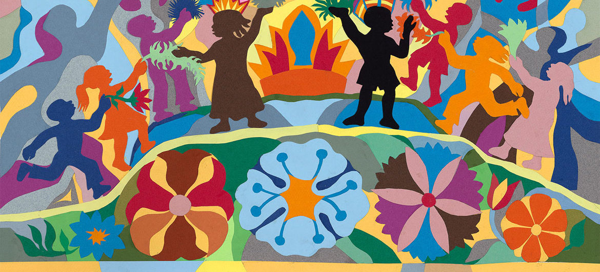 "Ashley Bryan, ""Oh, when the children sing in peace"" for ""All Things Bright and Beautiful,"" collage of cut colored paper on paper, 2006. (Courtesy)"