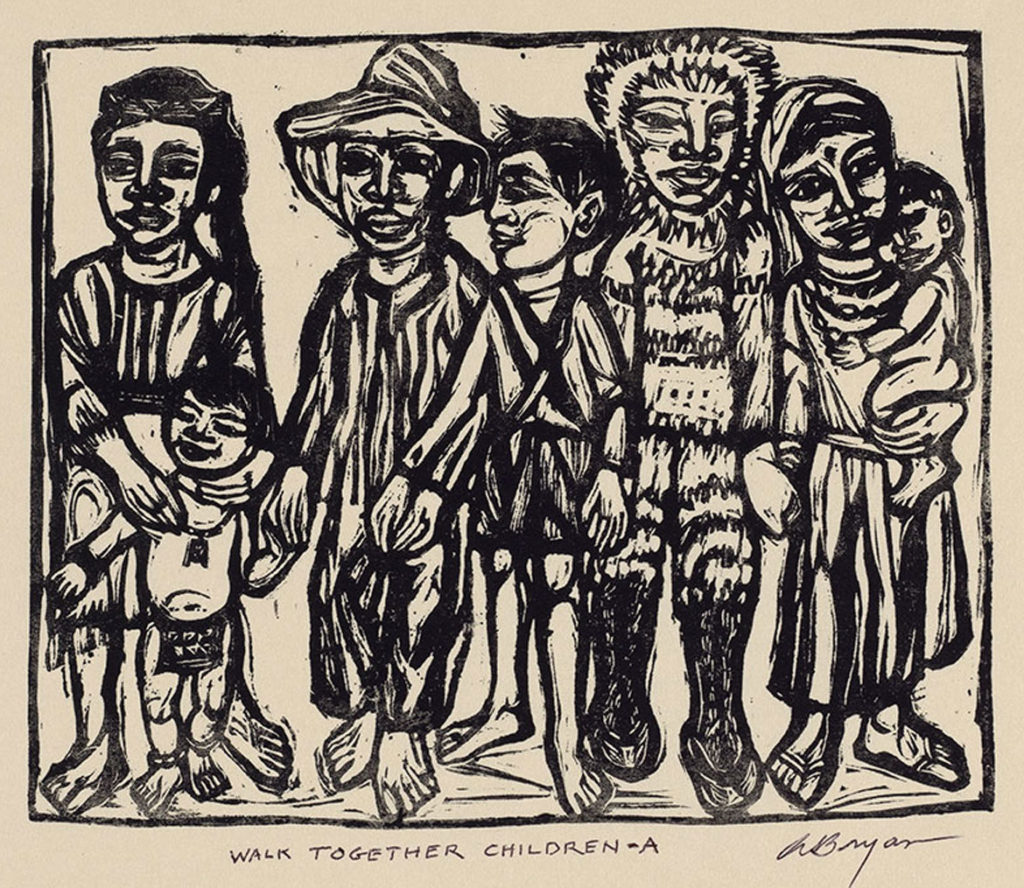 "Ashley Bryan, Front cover illustration for ""Walk Together Children: Black American Spirituals,"" linoleum cut on rice paper, 1974. (Courtesy)"