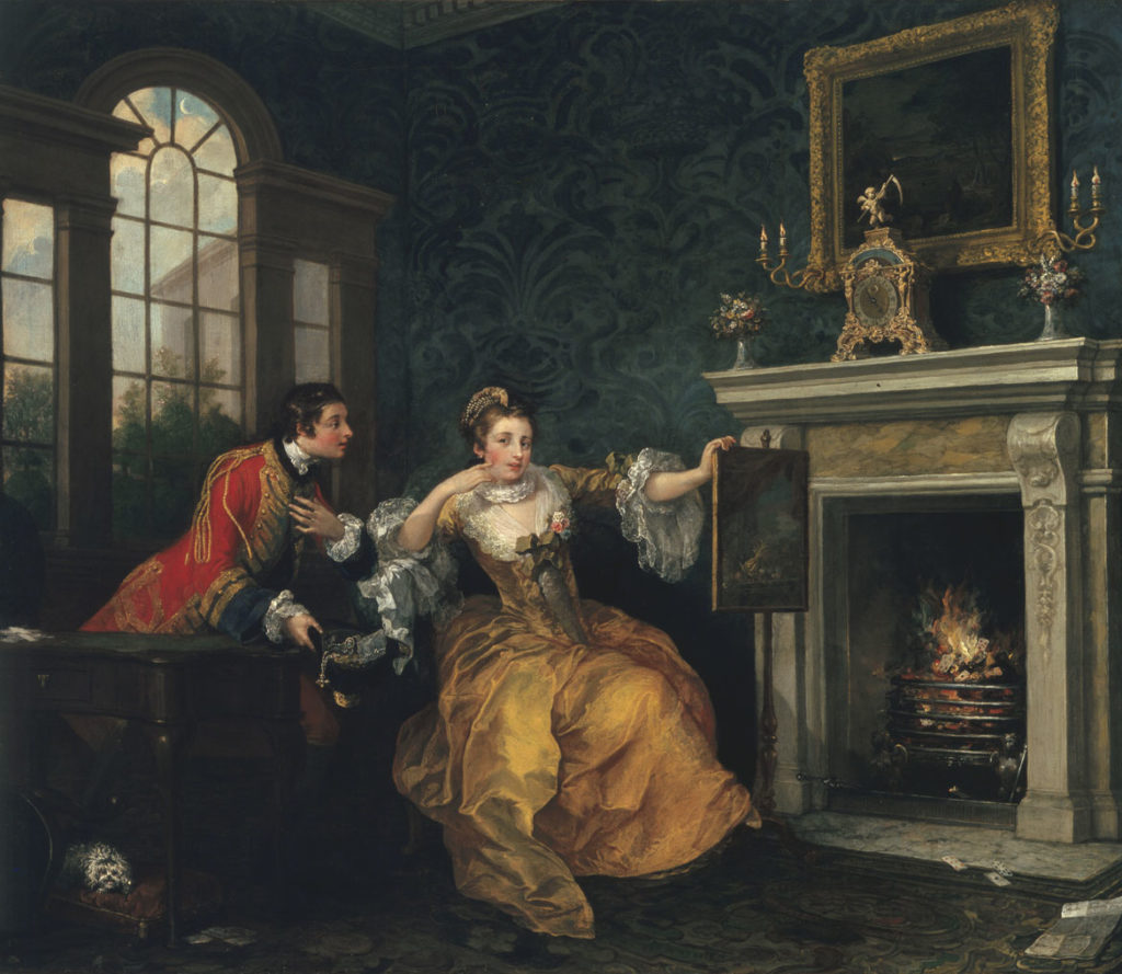 """William Hogarth, """"The Lady's Last Stake,"""" 1759, oil on canvas. (Courtesy Museum of Fine Arts, Boston)"""