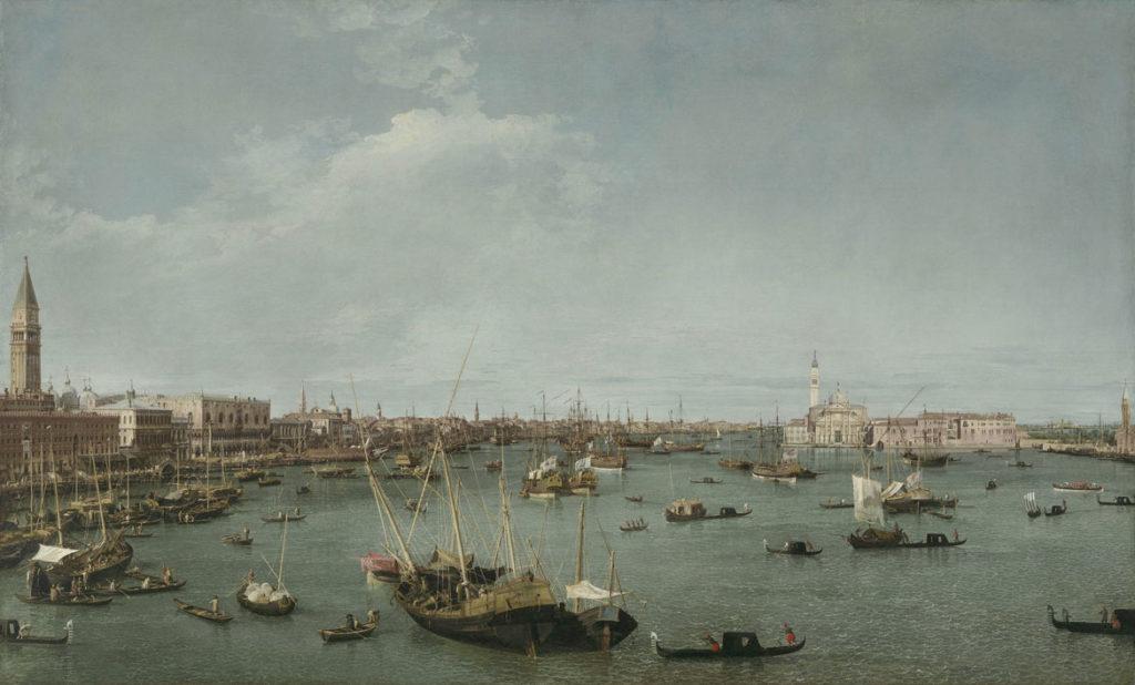 """Canaletto (Giovanni Antonio Canal), """"Bacino di San Marco, Venice,"""" about 1738, oil on canvas. (Courtesy Museum of Fine Arts, Boston)"""