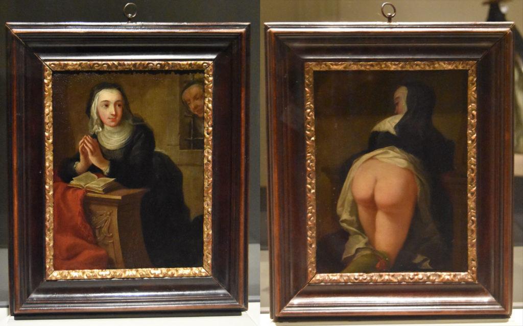 "Martin van Meytens, ""Kneeling Nun,"" front and back, about 1731, oil on copper. (Greg Cook)"