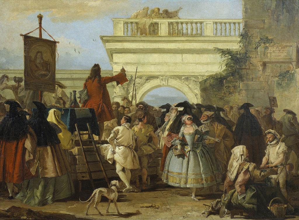 """Giovanni Domenico Tiepolo, """"The Charlatan,"""" 1756, oil on canvas. (Courtesy Museum of Fine Arts, Boston)"""