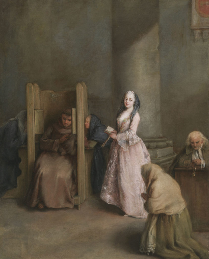 "Pietro Longhi, ""The Confession,"" about 1755, oil on canvas. (Courtesy Museum of Fine Arts, Boston)"