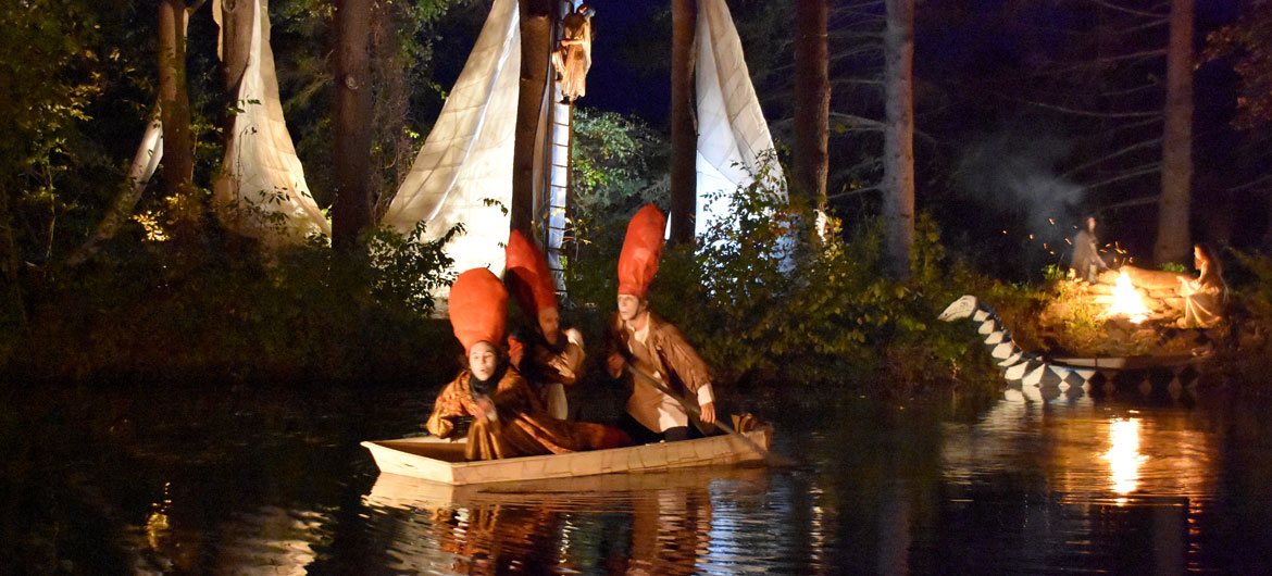 "At the pond during Double Edge Theatre's ""Leonora's World,"" Ashfield, Mass., Oct. 19, 2018. (Greg Cook)"