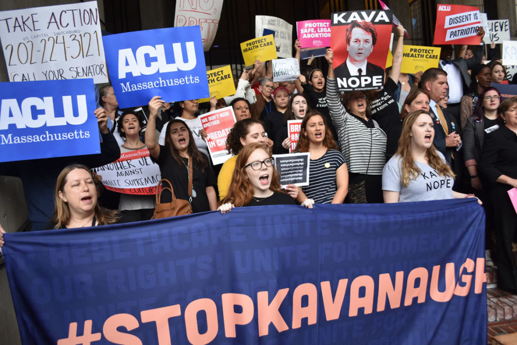 """Tell Jeff Flake to Reject Kavanaugh"" rally on the steps of Boston City Hall, Oct. 1, 2018. (Greg Cook)"