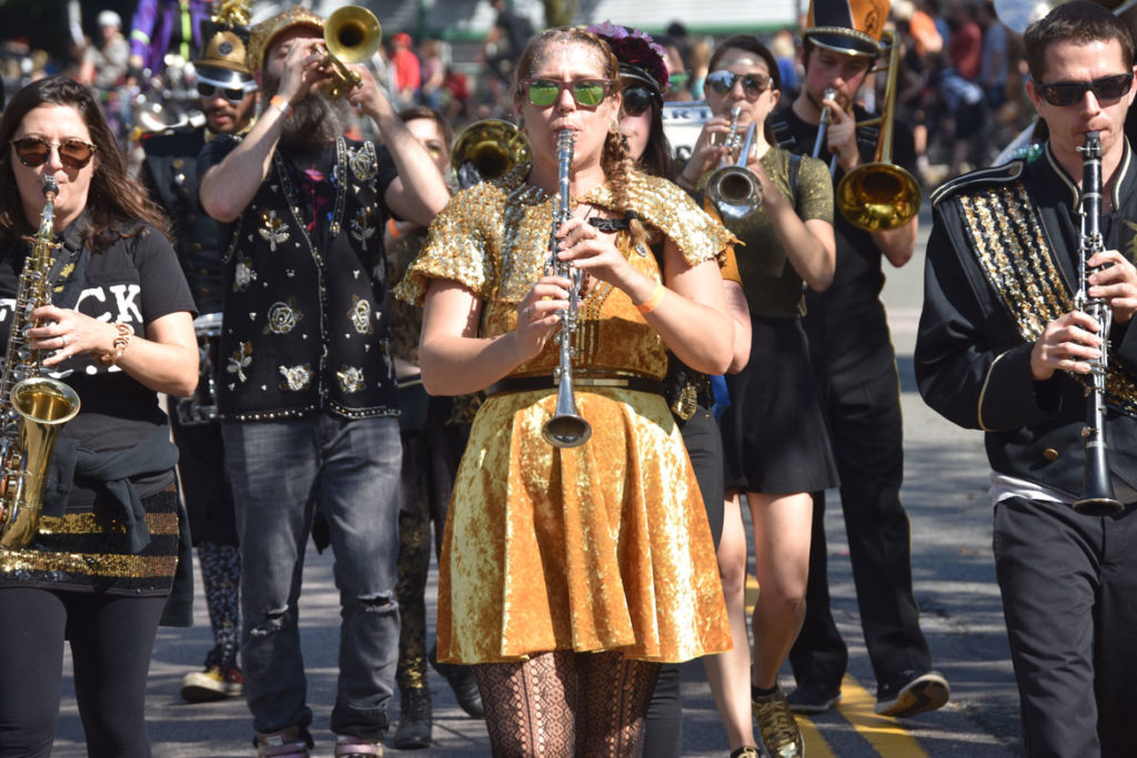 Detroit Party Marching Band in the Honk Parade, Oct. 7, 2018. (Greg Cook)