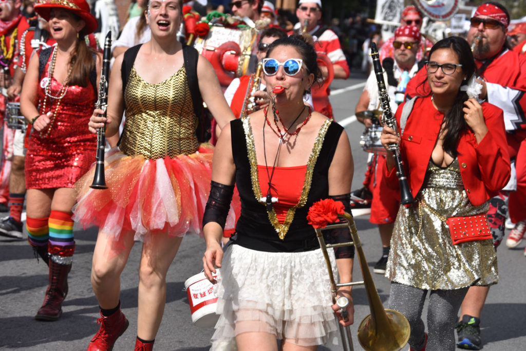 Extraordinary Rendition Band from Providence in the Honk Parade, Oct. 7, 2018. (Greg Cook)