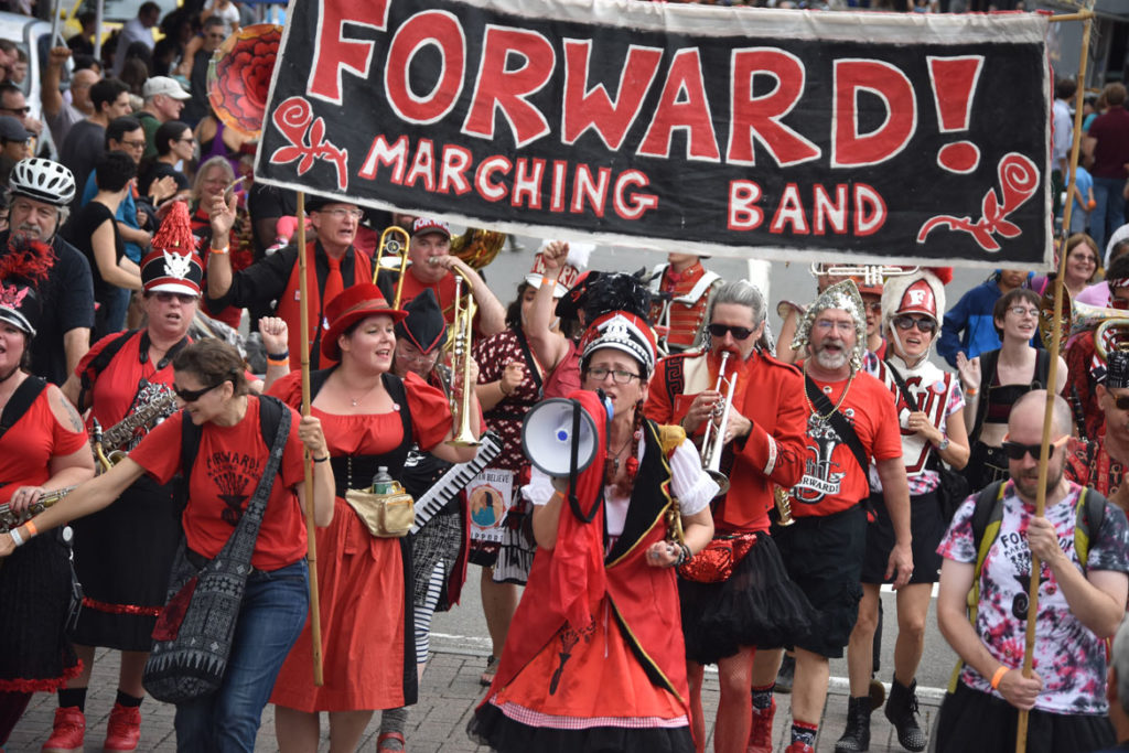 Forward! Marching Band from Madison, Wisconsin, in the Honk Parade, Oct. 7, 2018. (Greg Cook)