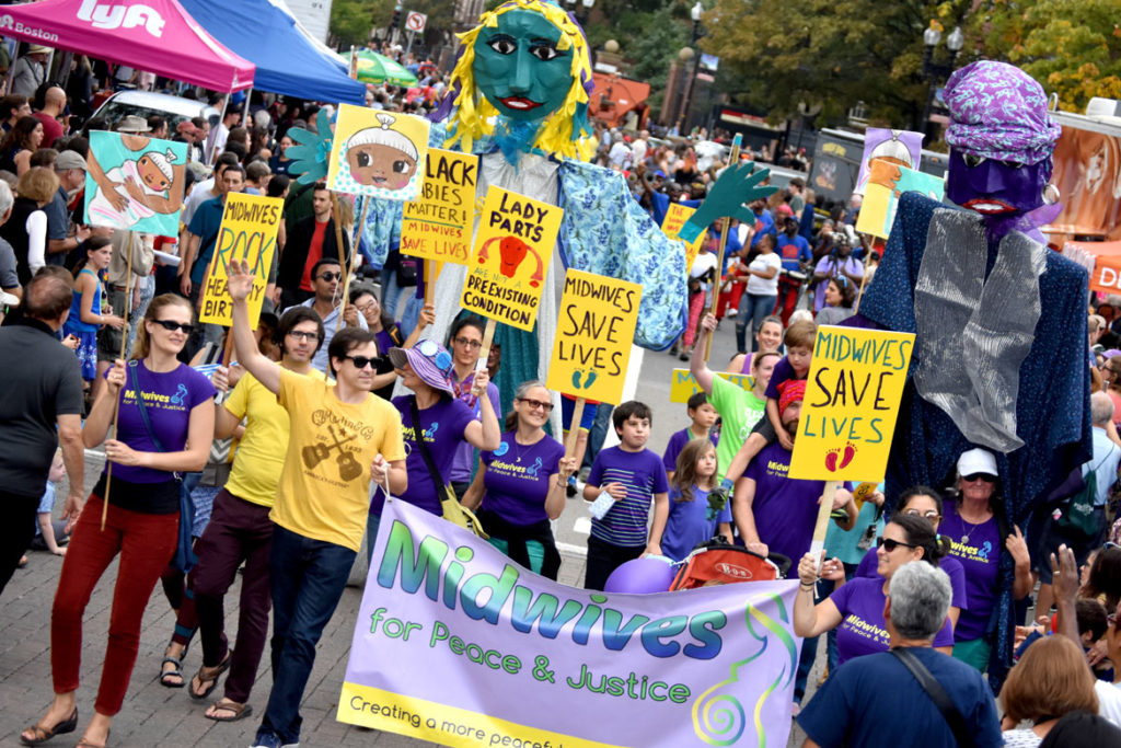 Midwives for Peace & Justice in the Honk Parade, Oct. 7, 2018. (Greg Cook)