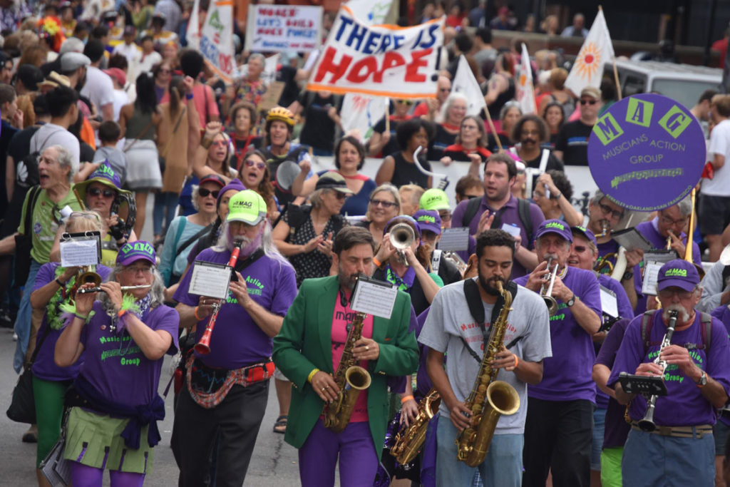 Musicians Action Group from the San Francisco Bay area in the Honk Parade, Oct. 7, 2018. (Greg Cook)