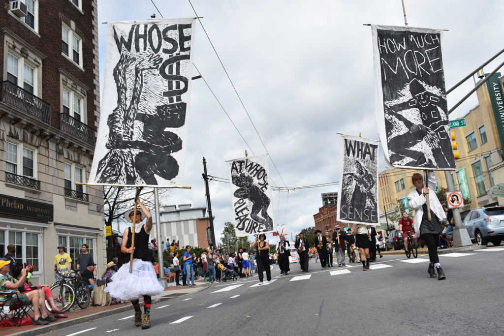 Bread and Puppet Theater from Glover, Vermont, in the Honk Parade, Oct. 7, 2018. (Greg Cook)