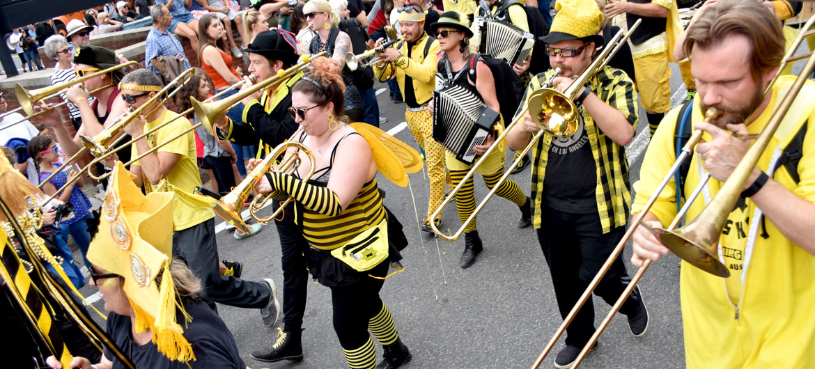 Minor Mishap Marching Band from Austin, Texas, in the Honk Parade, Oct. 7, 2018. (Greg Cook)