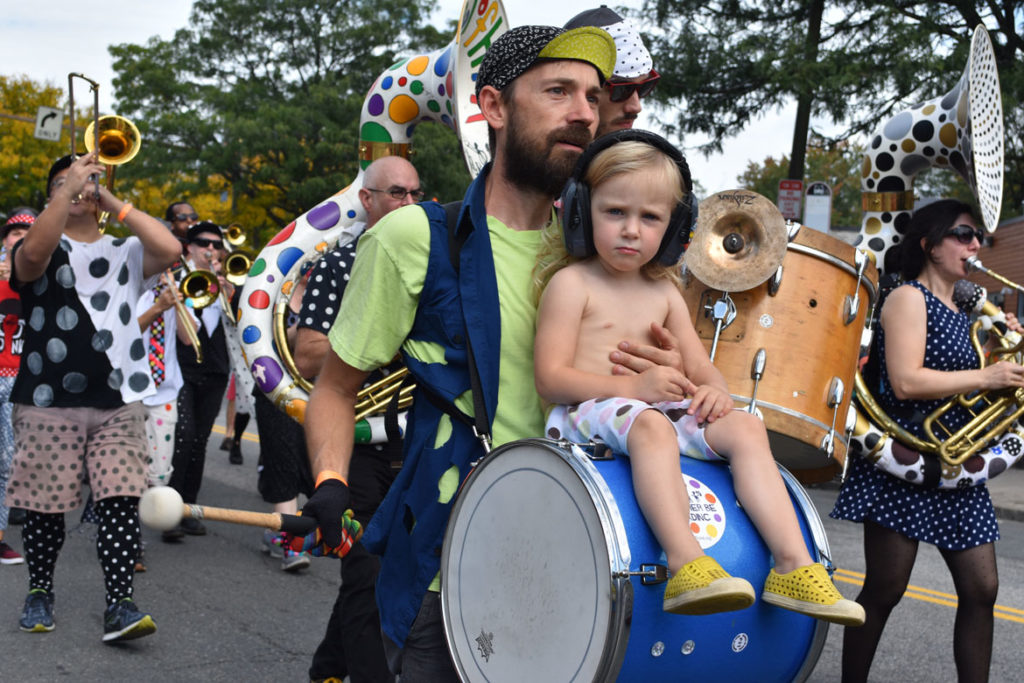 School of Honk from Somerville in the Honk Parade, Oct. 7, 2018. (Greg Cook)