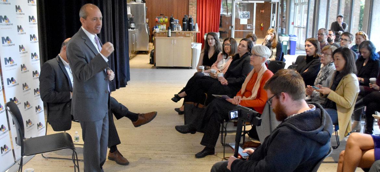 "Jay Gonzalez speaks at MassCreative ""Create The Vote"" candidate forum at Harvard University's American Repertory Theater, Cambridge, Oct. 15, 2018. (Greg Cook)"