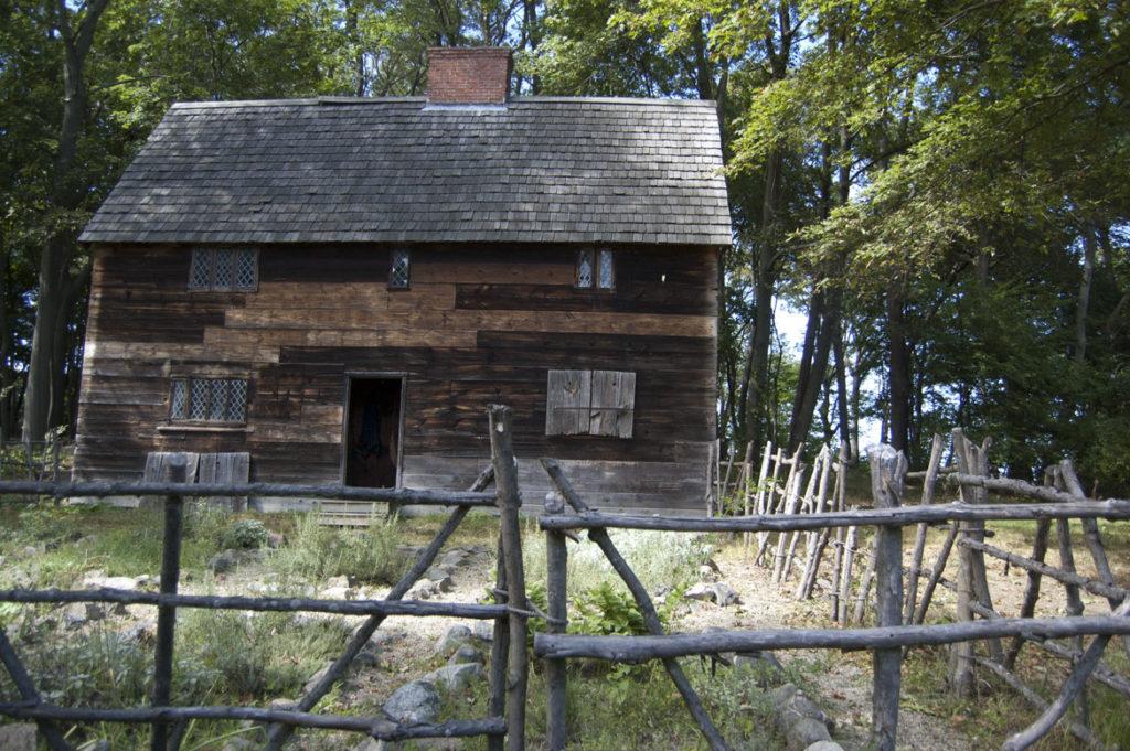 "A recreation of the ""fayre house"" built for John Endicott at Pioneer Village: Salem in 1630, Sept. 1, 2017. (Greg Cook)"