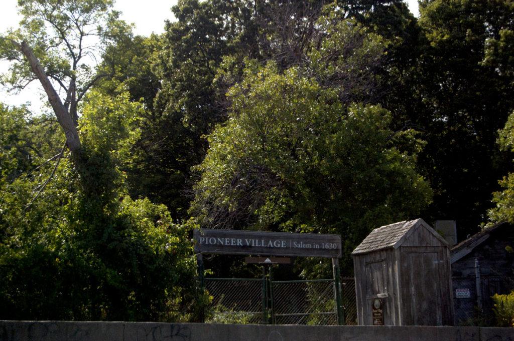 The seaside entrance to Pioneer Village: Salem in 1630 in Salem's Forest River Park, Sept. 1, 2017. (Greg Cook)