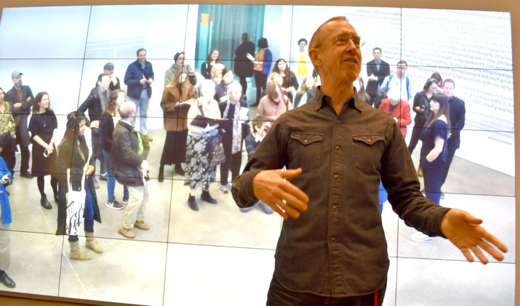 "William Forsythe in front of his ""City of Abstracts,"" 2000, at Institute of Contemporary Art, Boston, Oct. 30, 2018. (Greg Cook)"