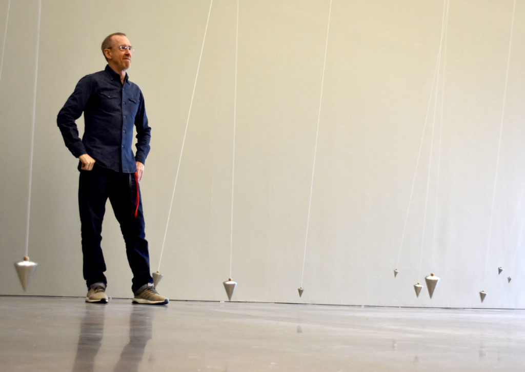 "William Forsythe with his ""Nowhere and Everywhere at the Same Time, No. 3,"" 2015, at Institute of Contemporary Art, Boston, Oct. 30, 2018. (Greg Cook)"