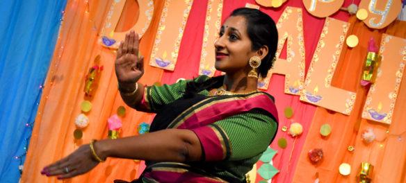 Amrutha Ananth dances classical Bharatanatyam during the Dawali celebration at the Gallery, Malden, Nov. 1, 2018. (Greg Cook)