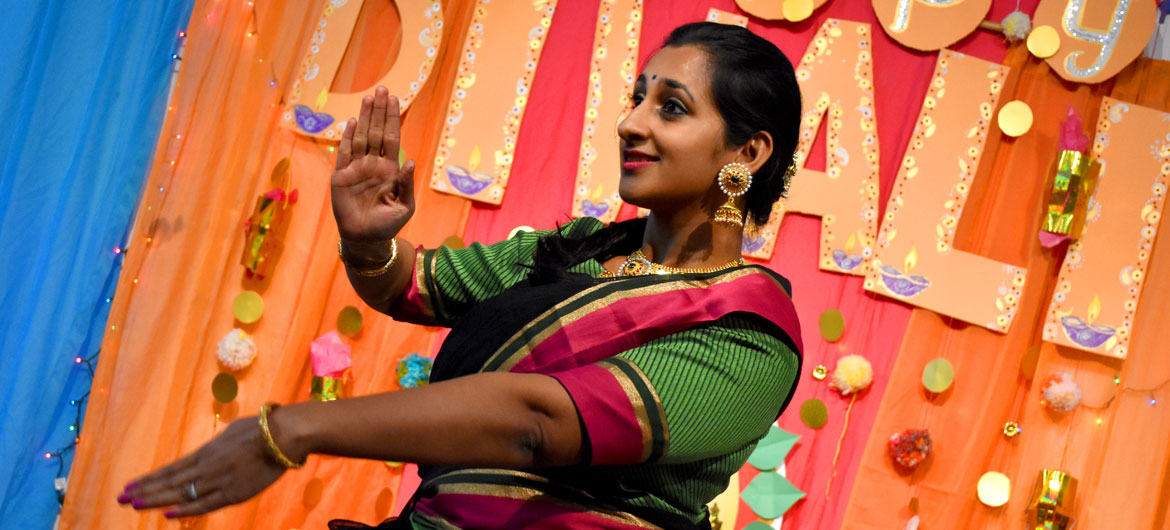 Amrutha Ananth dances classical Bharatanatyam during the Dawali celebration at the Gallery, Malden, Nov. 1, 2018. (Greg Cook)