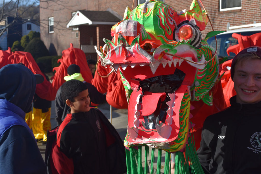 Wah Lum Kung Fu & Thai Chi Academy in Malden Parade of Holiday Traditions, Nov. 24, 2018. (Greg Cook)