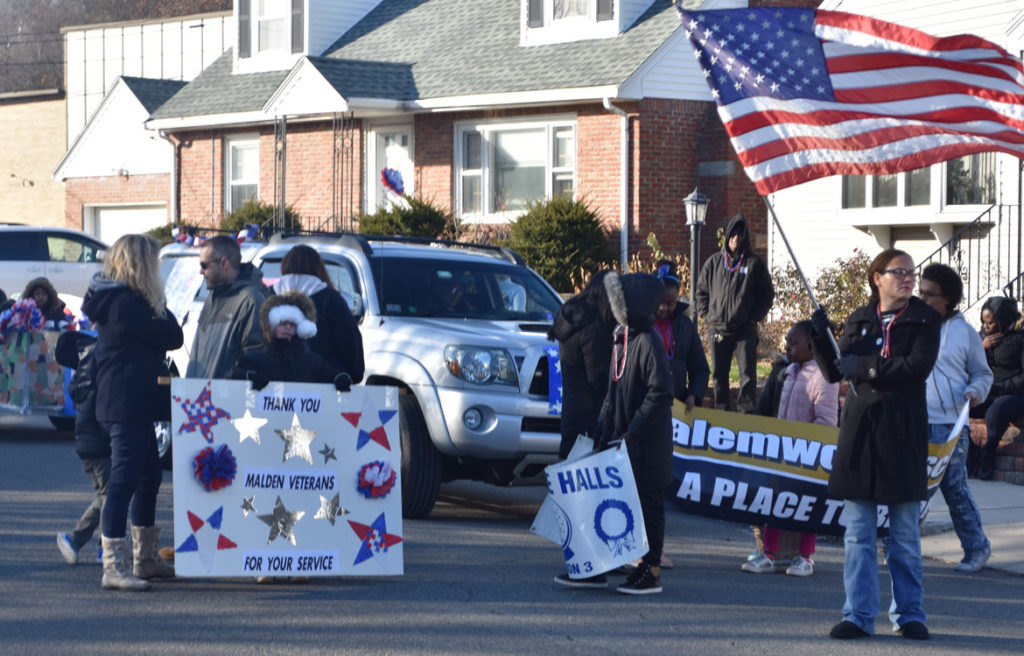 Salemwood School group in Malden Parade of Holiday Traditions, Nov. 24, 2018. (Greg Cook)